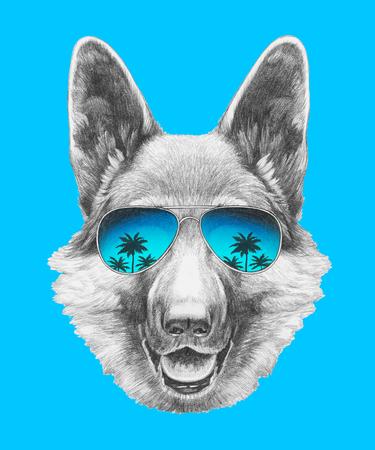 funny glasses: Portrait of German Shepherd with mirror sunglasses. Hand drawn illustration. Stock Photo