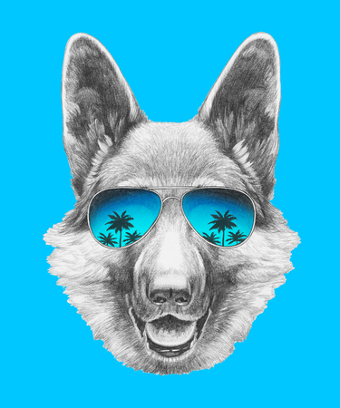 Portrait of German Shepherd with mirror sunglasses. Hand drawn illustration. Stock Photo