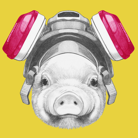 Portrait of Piggy with gas mask. Hand drawn illustration. 版權商用圖片