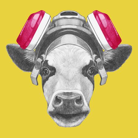 ガスマスクと牛の肖像画。手描きのイラスト。