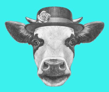 Porträt von Kuh mit Hut. Hand gezeichnete Illustration.