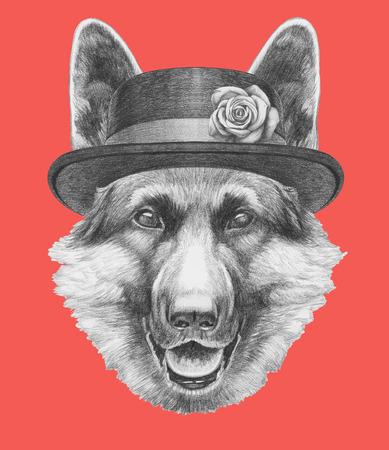 Portrait of German Shepherd with hat. Hand drawn illustration.