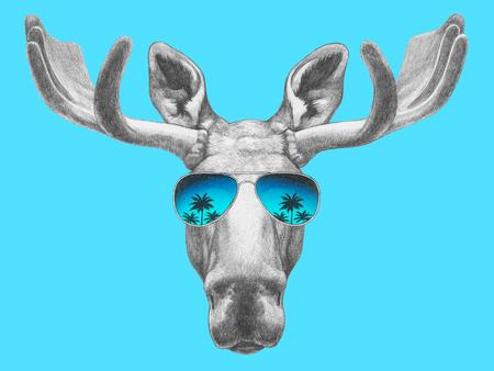 Portrait of Moose with mirror sunglasses. Hand drawn illustration.