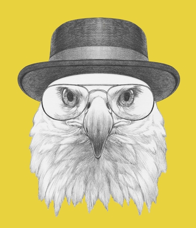 Portrait of Eagle with hat and glasses. Hand drawn illustration. Stock Photo