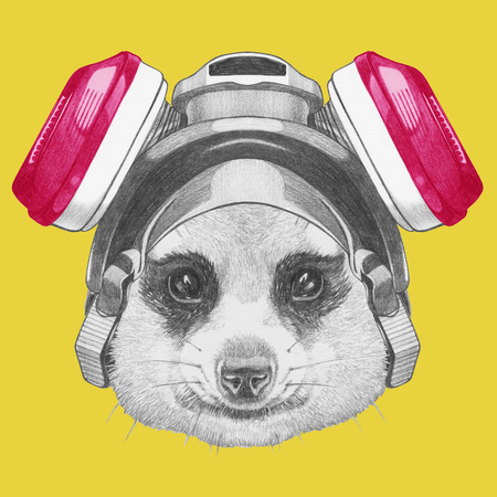 Portrait of Meerkat with gas mask. Hand drawn illustration.