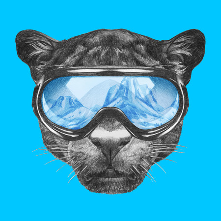 Portrait of Panther with ski goggles. Hand drawn illustration.
