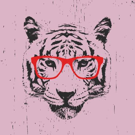 Ritratto di Tioger con gli occhiali. Disegnati a mano illustrazione. T-shirt design. Vettore Vettoriali