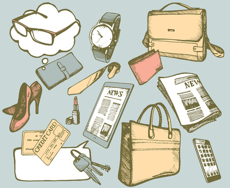 Set of hand drawn objects for business people. Vector isolated elements.