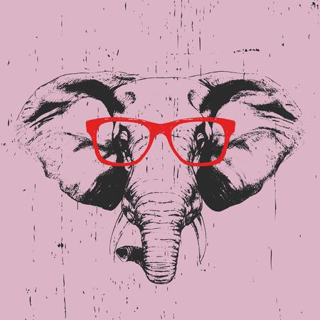 メガネで象の肖像画。手描きのイラスト。T シャツのデザイン。ベクトル