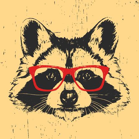 Retrato de mapache con gafas. Ilustración dibujada a mano. Vector.