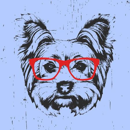 メガネとヨークシャー ・ テリア犬の肖像画。手描きのイラスト。T シャツのデザイン。ベクトル