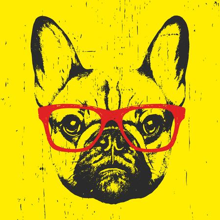 Portrait of French Bulldog with glasses. Hand-drawn illustration. T-shirt design. Vector  イラスト・ベクター素材