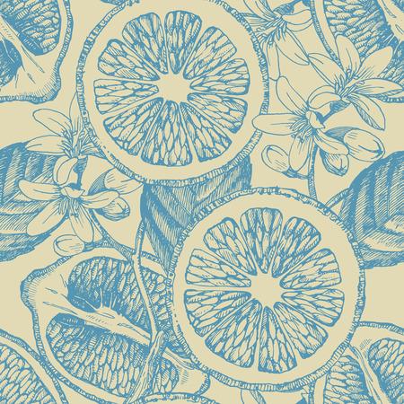 柑橘系の果物とのシームレスなパターン。ベクトル レモン。手描きのイラスト。