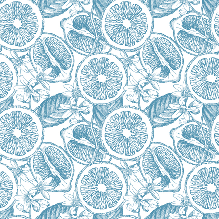 Seamless pattern with lemons. Hand drawn illustration.