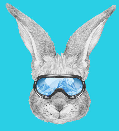 Portrait of Rabbit with ski goggles. Hand drawn illustration. Stock Photo