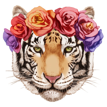 Portrait of Tiger with floral head wreath.  Hand-drawn illustration, digitally colored. Banco de Imagens