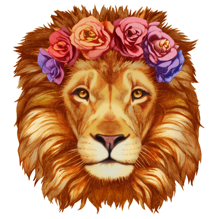 flower head: Portrait of Lion with floral head wreath. Hand-drawn illustration, digitally colored.
