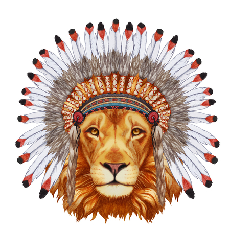 Portrait  of Lion in war bonnet. Hand-drawn illustration, digitally colored.