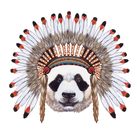 Portrait of Panda in war bonnet. Hand-drawn illustration, digitally colored.