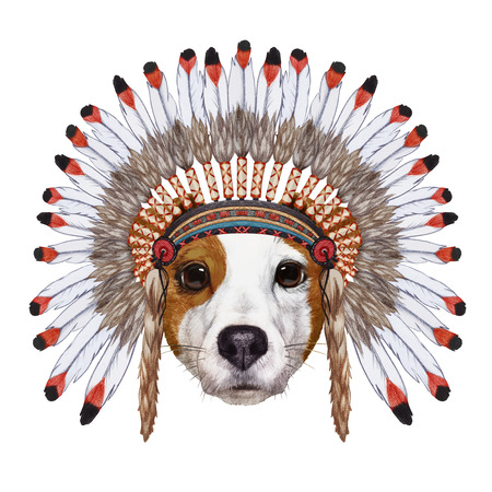 Portrait  of Jack Russell in war bonnet. Hand-drawn illustration, digitally colored. Stock Photo