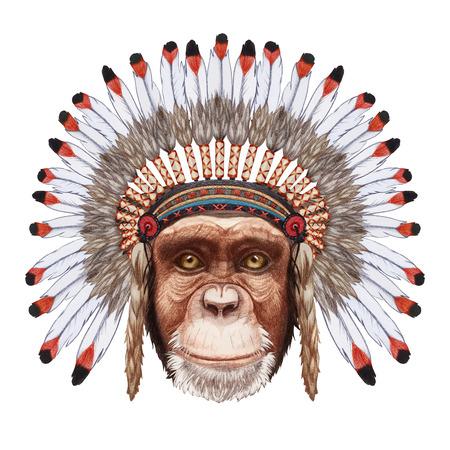 ウォー ボンネットに猿の肖像。手描きイラスト、デジタル色します。