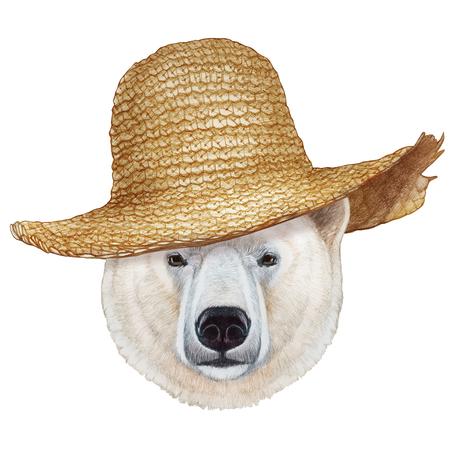 Portrait of Polar Bear with straw hat. Hand-drawn illustration, digitally colored. Stock Photo