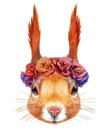 Portrait of Squirrel with floral head wreath. Hand-drawn illustration, digitally colored.