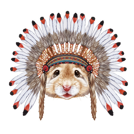 native american baby: Portrait of Mouse in war bonnet. Hand-drawn illustration, digitally colored.