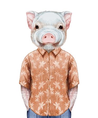 Portrait of Piggy in summer shirt. Hand-drawn illustration, digitally colored.
