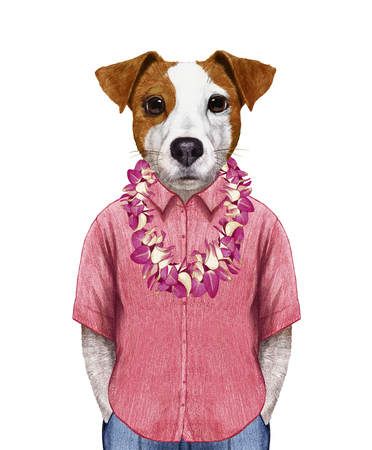 Portrait of Jack Russell in summer shirt with Hawaiian Lei. Hand-drawn illustration, digitally colored.