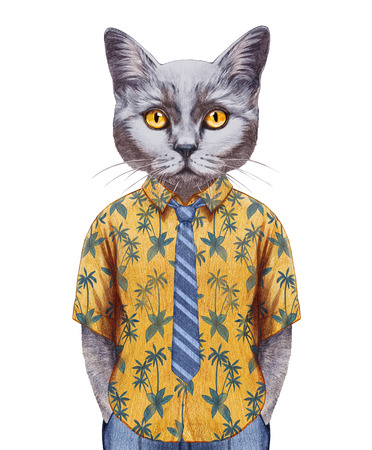 ab0dc28ae42e Portrait of Cat in a summer shirt with tie. Hand-drawn illustration