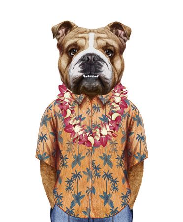 ハワイアン レイ夏シャツに英語ブルドッグの肖像。手描きイラスト、デジタル色します。