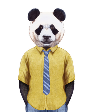palm wreath: Portrait of Panda in summer shirt with tie. Hand-drawn illustration, digitally colored.