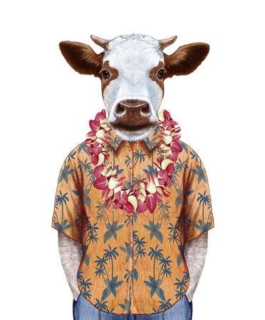 Portrait of Cow in summer shirt with Hawaiian Lei. Hand-drawn illustration, digitally colored. Stock Photo