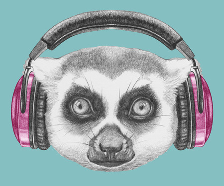 Portrait of Lemur with headphones. Hand drawn illustration.