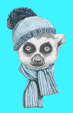 Portrait of Lemur with hat and scarf. Hand drawn illustration.