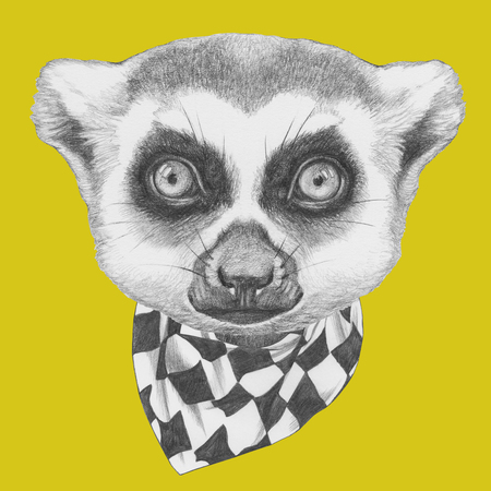 Portrait of Lemur with scarf. Hand drawn illustration.