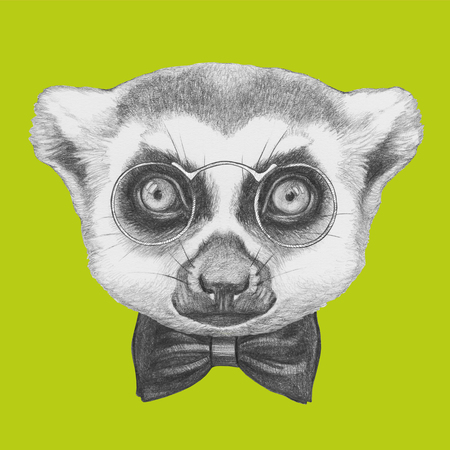 Portrait of Lemur with glasses and bow tie. Hand drawn illustration. Stock Photo