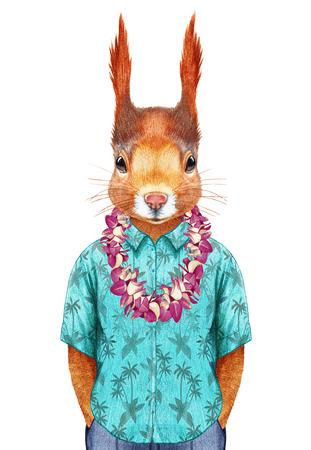 palm wreath: Squirrel in summer shirt with Hawaiian Lei. Hand-drawn illustration, digitally colored.