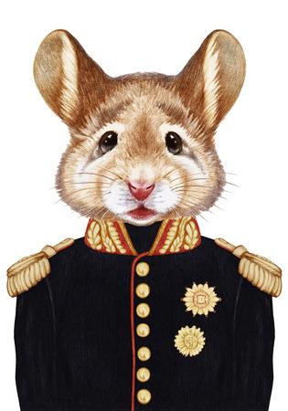 軍服でマウスの肖像画。手描きイラスト、デジタル色します。