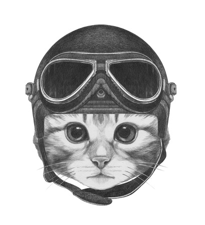 Portrait of Kitty with Vintage Helmet. Hand drawn illustration.