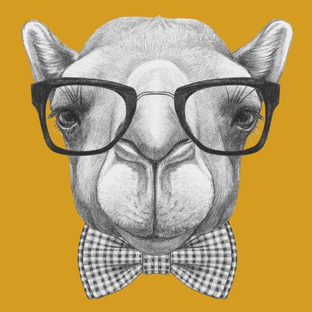 Portret van kameel met een bril en strikje. Hand getrokken illustratie. Stockfoto - 73597495