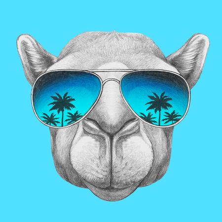 Portrait des Kamels mit Spiegelgläsern. Hand gezeichnete Abbildung. Standard-Bild - 73597520