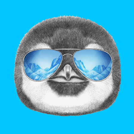 Portrait of Penguin with mirror sunglasses. Hand drawn illustration. Stock Photo