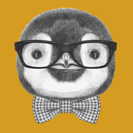 flightless: Portrait of Penguin with glasses and bow tie. Hand drawn illustration.