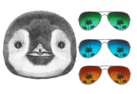 antarctica: Portrait of Penguin with mirror sunglasses. Hand drawn illustration. Stock Photo