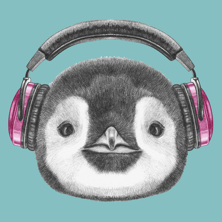 artwork: Portrait of Penguin with headphones. Hand drawn illustration.