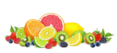 Hand-drawn Berries and Fruits on white background. Digitally colored illustration. Stock Photo