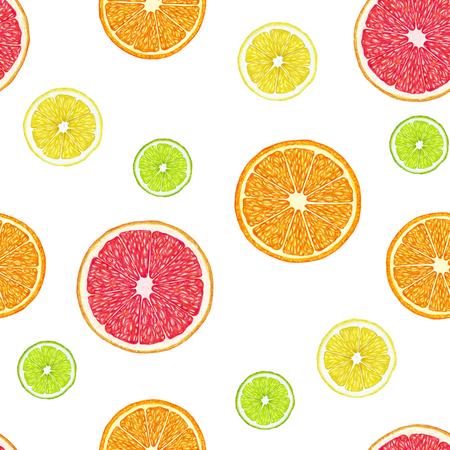Seamless pattern with hand-drawn citrus. Digitally colored. Lemon, lime, orange and grapefruit. Banco de Imagens