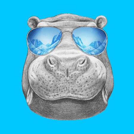 Portrait of Hippo with mirror sunglasses. Hand drawn illustration.